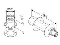 Коаксиальная горизонтальный комплект: отвод 90° + удленитель 810мм, D60/100мм AZ 389 (7716050064)