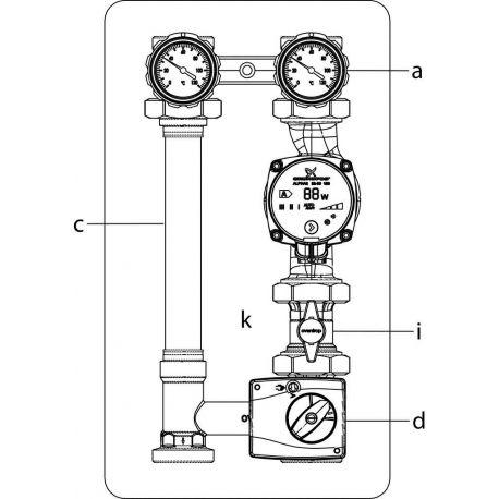 Oventrop Regumat M3 -180 Ду 32 с смесителем без насоса + кран (1355275)